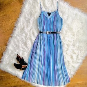 Lane Bryant Blue Striped Pleated Maxi Dress Size